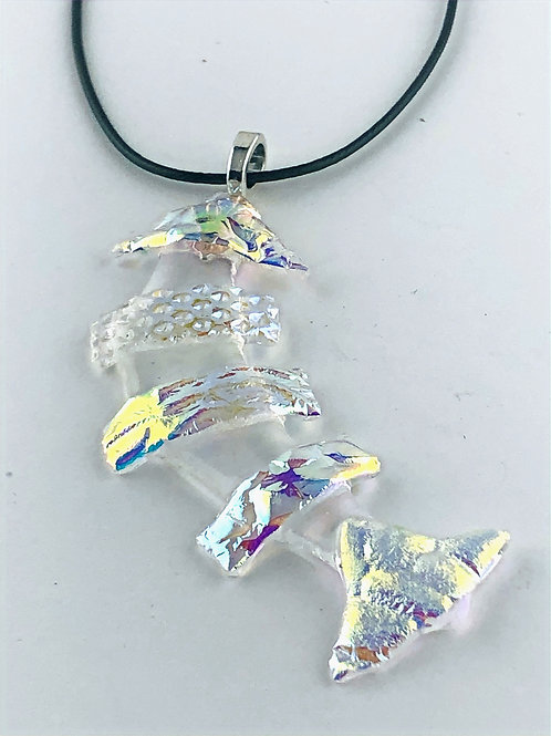 Golds, blues and greens on clear Goldfish Pendant