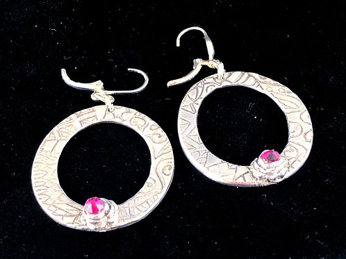 Circle Earrings with red rose Swarovski