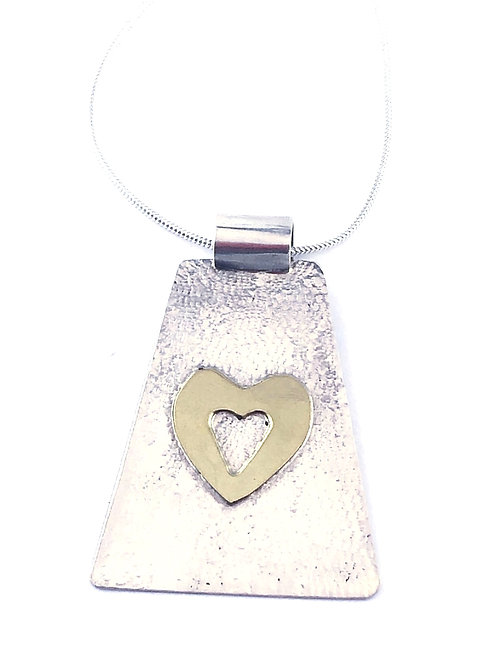 Sterling Silver Textured Pendant with Brass Cutout Heart