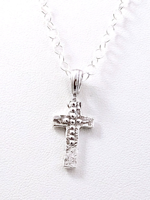 Dainty Textured Cross Pendant