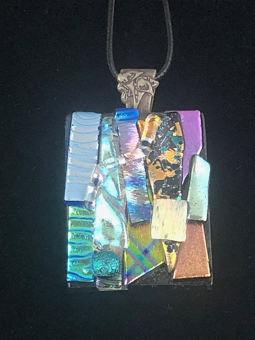 Blue/Purple/Green /Silver/Gold on Clear Pendant
