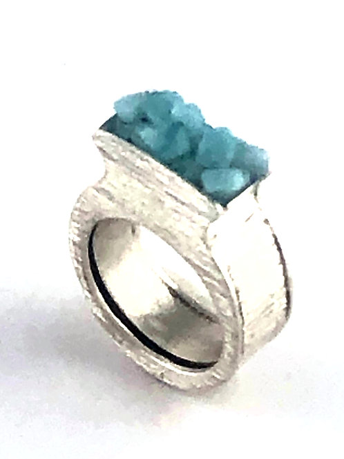 Sterling Silver Hollow Ring - Aqua Glass