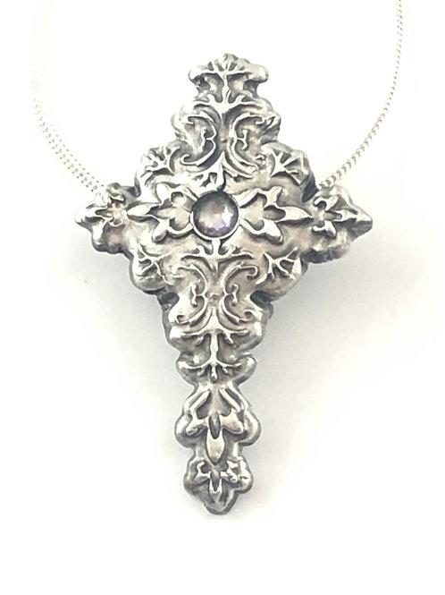 Silver Cross with Clear Swarovski Crystal