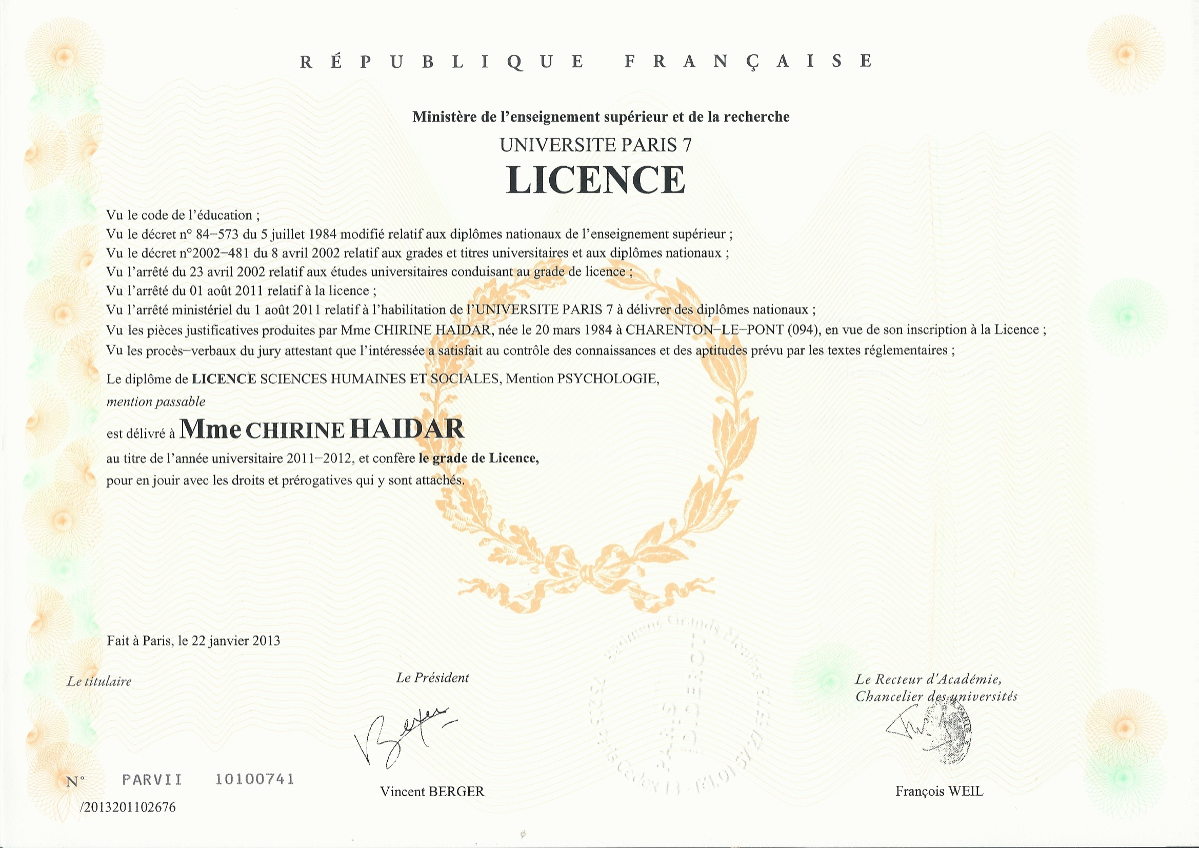 Licence Paris 7