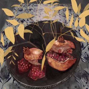 'Pomegranates and Robinia leaves'