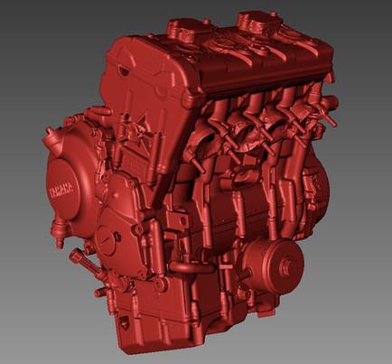 Yamaha R6 engine 3d scanning