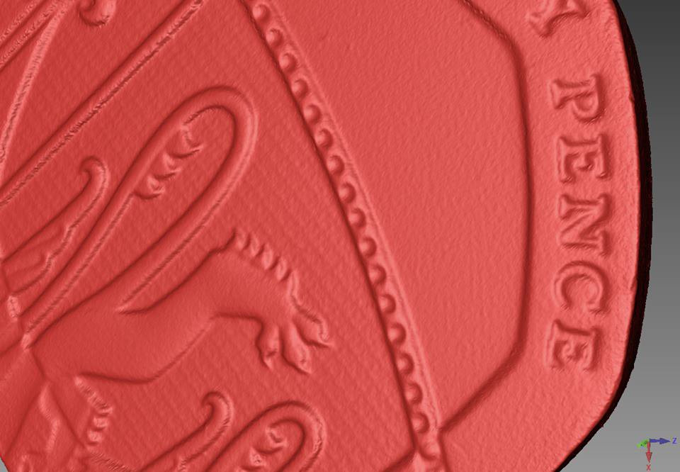 20 pence 3d scanning close up