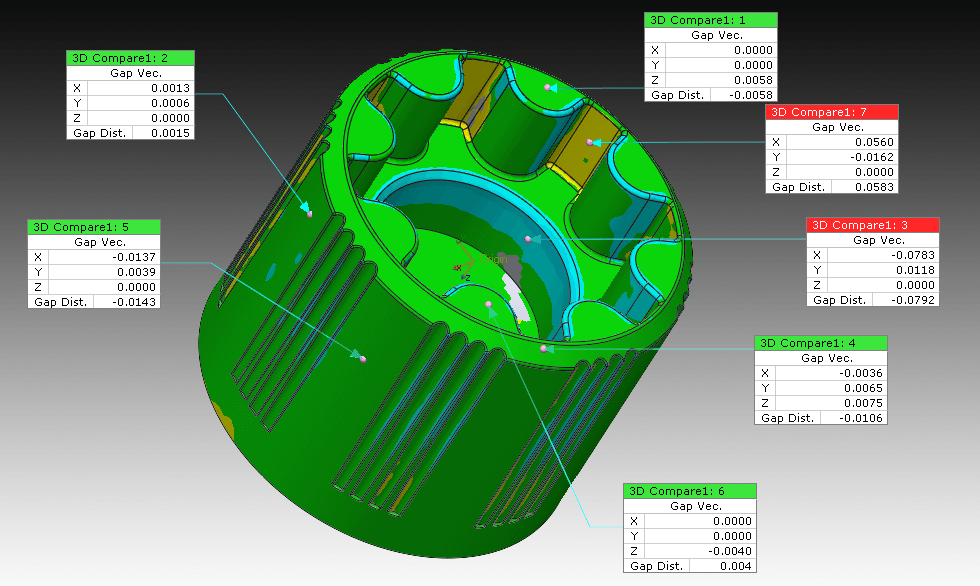 Whole deviation STL > nominal CAD