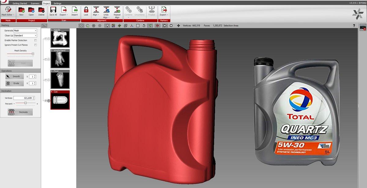 TOTAL Quartz bottle 3d scan