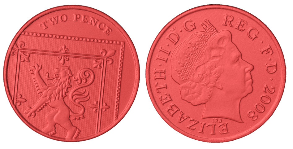British 2 pence coin