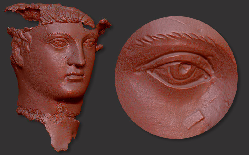 Roman bronze head 3D scanning
