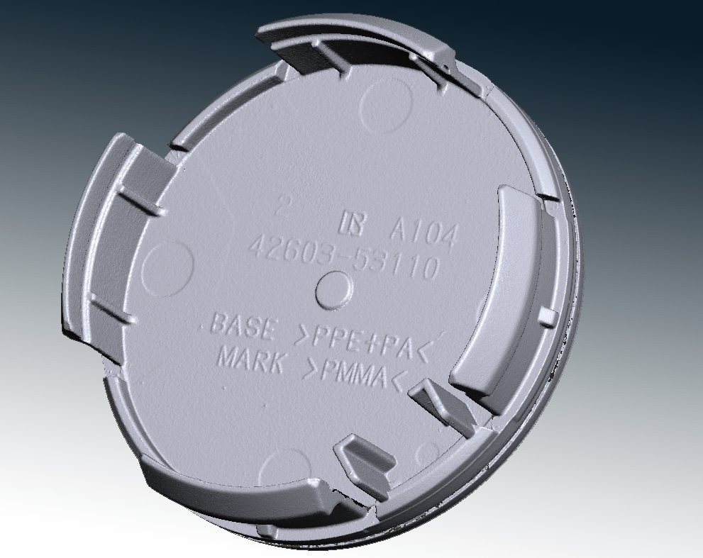 Alloy wheel centre cap 3d scan