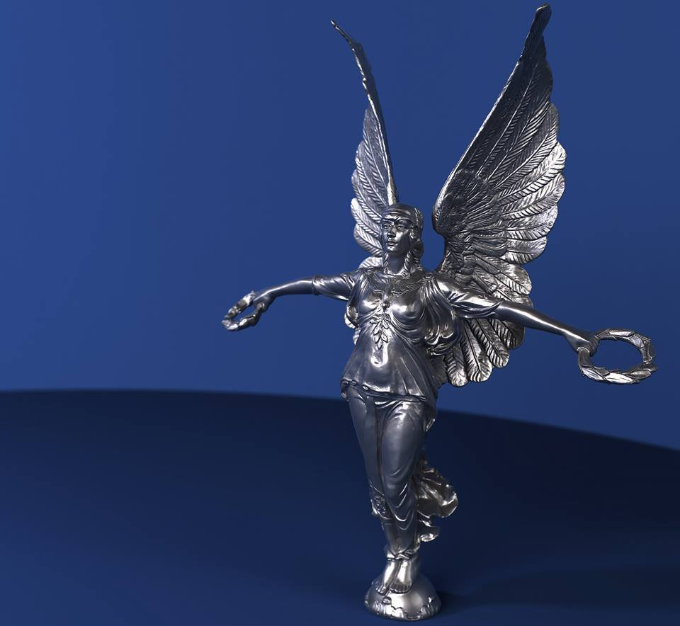 Silver statue rendering
