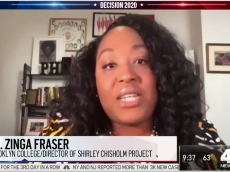 Zinga Fraser, PhD, WNBC TV Channel 4 Interview on Chisholm, Harris and the 2020 Campaign