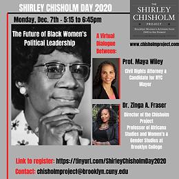 Invitation to Shirley Chisholm Day Webinar: Monday Dec 7th @ 5:15pm