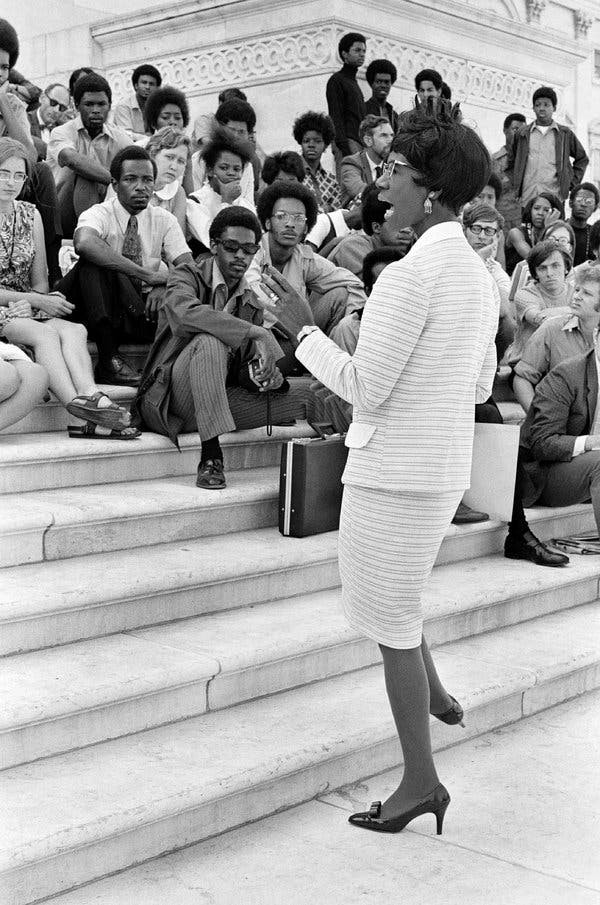 Rep. Chisholm, talking to visitors from Berea College on the steps of the Capitol in 1970.
