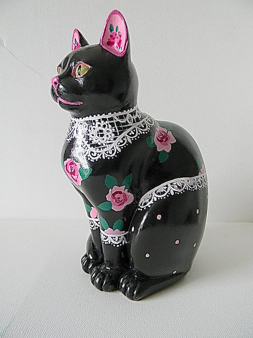 Roses & lace on Black small cat - PP-R4018
