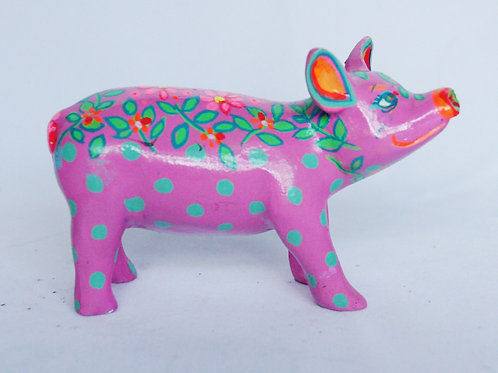 Green spots on pink Mini Pig - PP-D1385