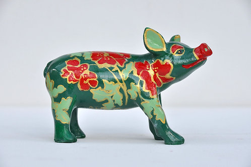 Red flowers on Mini Pig - PP-R1376