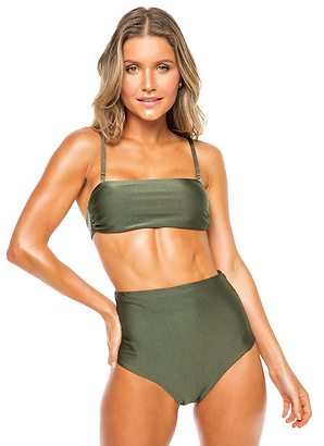 Top Inteiro e Hot Pant Green Olive and Black