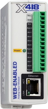 X-418™ | Web-Enabled, Multi-Function 8-Channel Analog Input Module