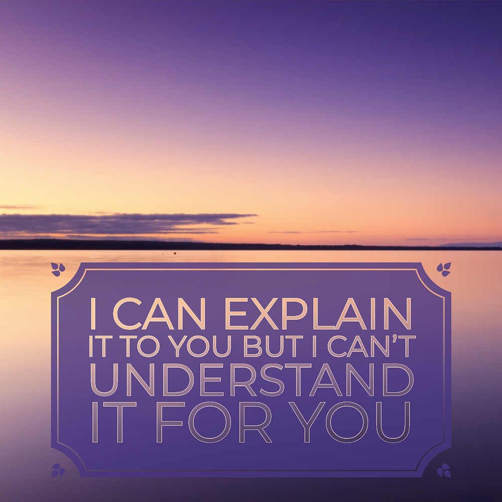 I can explain it to you but I can't understand it for you