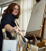 Ruth Buchanan artist watercolour painting in studio