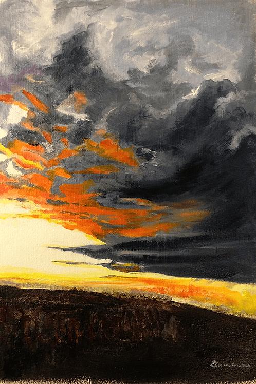 'Firey Greys' Original Acrylic Painting
