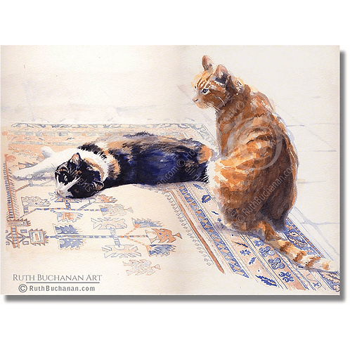 Ginger and Blue - A5 Greetings Card