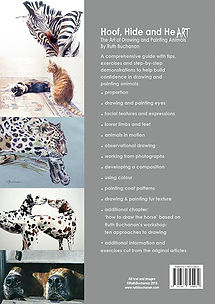 Back cover of Ruth Buchanan's book Hoof Hide and Heart, the art of drawing and painting animals