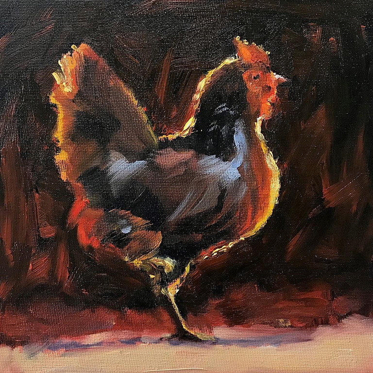 Half Day Workshop. £40. Colourful Bantam in oils or acrylics with Julie Cross
