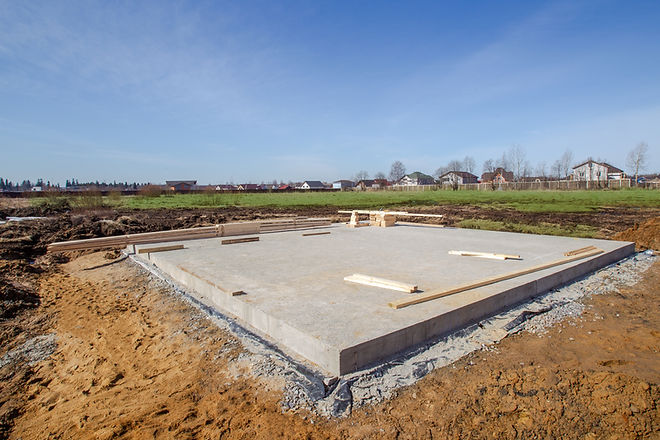 Laying the foundation. Construction works. The foundation for the house. Grounds for the C