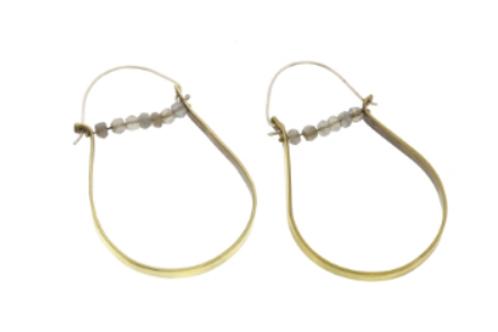 Moonstone Brass Hoop Earrings