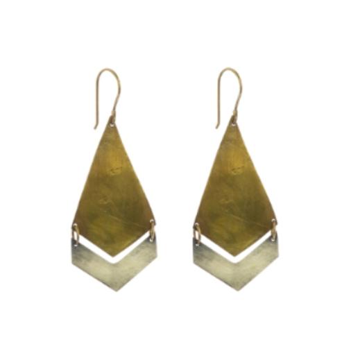 Brass & Silver Arrow Earrings