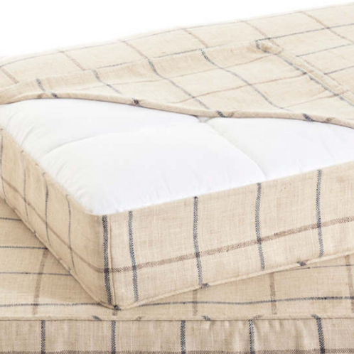 Tattersall Navy/Brown Dog Bed Cover - M