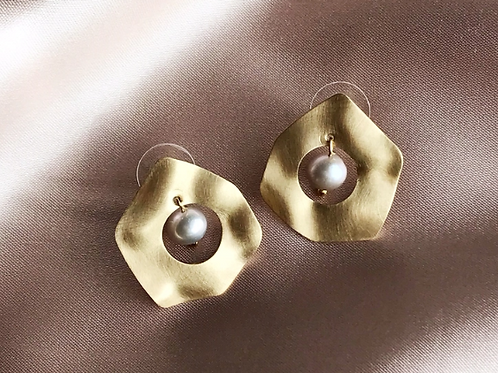 Brushed Brass with Pearl Earrings