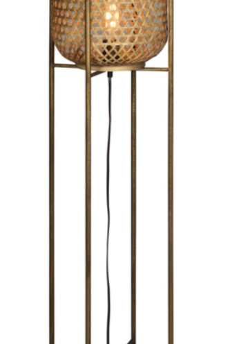 "Rattan & Metal Floor Lamp 54""H"
