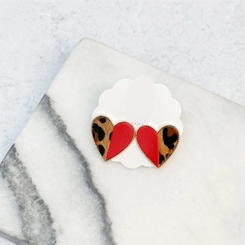 Leopard Heart Stud Earrings