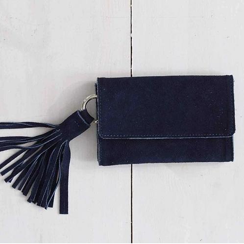 Belt Bag with Tassel - Navy Suede
