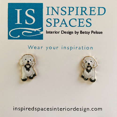 White Dog Stud Earrings