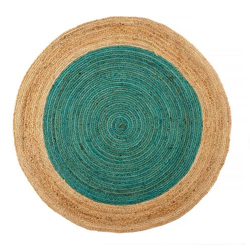 Turquoise 4' Round Jute Rug