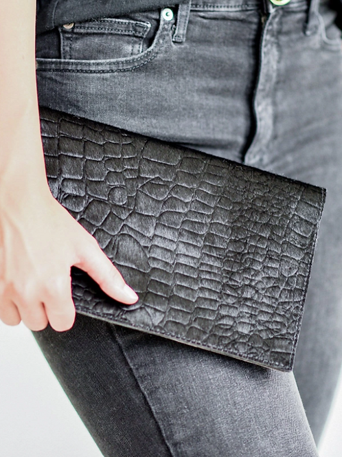 Black Embossed Foldover Clutch