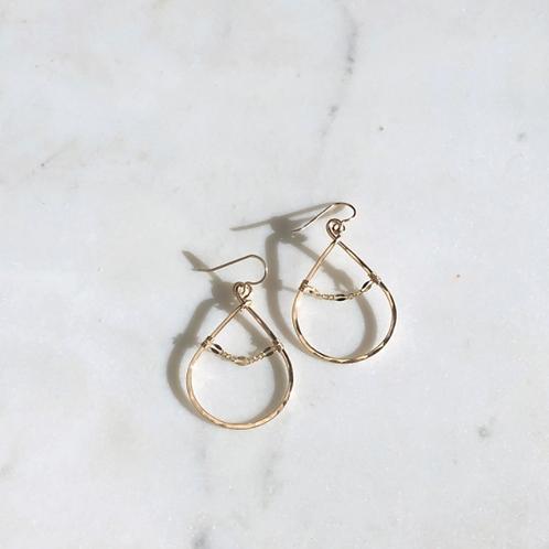 14K Hoop w/ Chain Earrings