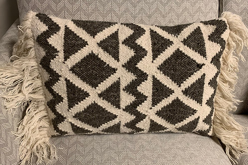Grey Woven Pillow 16x24