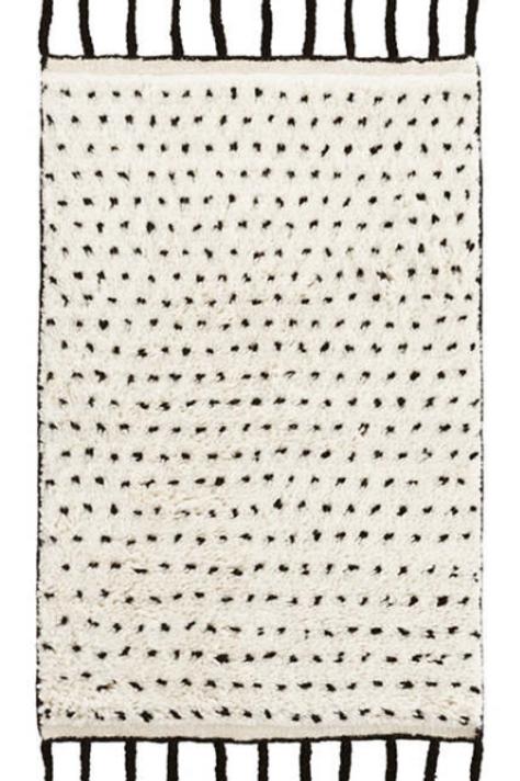 Black Fringe Wool 2x3 Rug