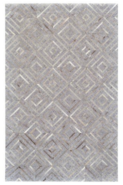 Sand & Silver Hide & Viscose 2x3 Rug