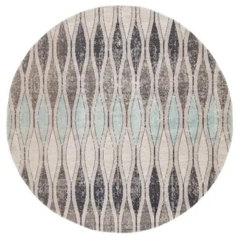 Aqua & Grey Indoor/Outdoor Round Rug