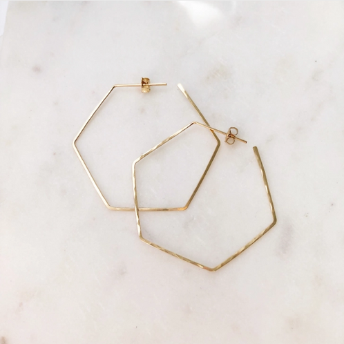 14K Gold Hexagon Hoops