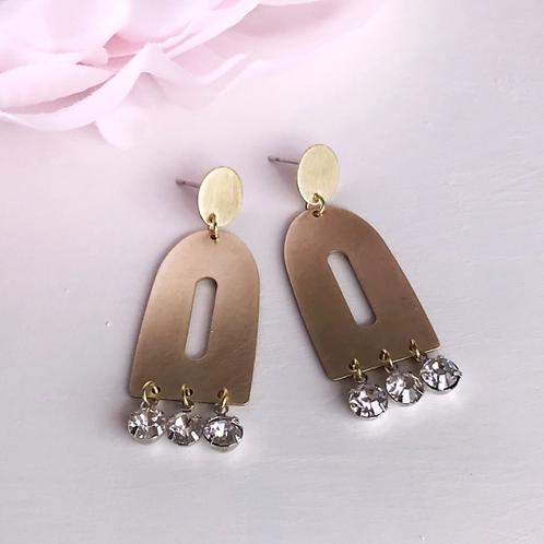 Brass & Rhinestone Earrings