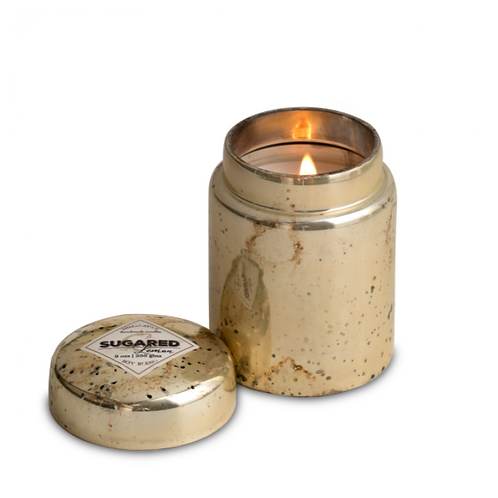 Sugared Lemon Mountain Fire Silver Glass Candle